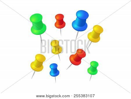 Push Pins Set. Stationery Object, Plastic Element, Tack And Needle. Push Pins