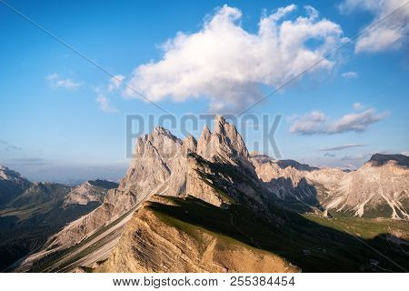 High Mountains In The Dolomite Alps, Italy. Beautiful Natural Landscape At The Summer Time. Mountain