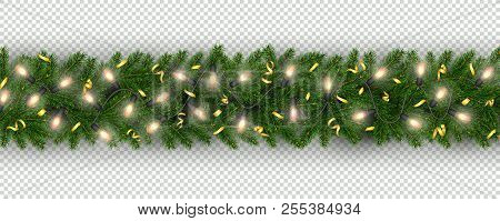 Christmas And New Year Border Of Realistic Branches Of Christmas Tree, Garland Light Bulbs, Serpenti