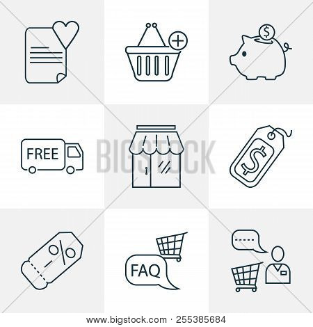 Commerce Icons Line Style Set With Savings, Storefront, Wish List And Other Helpline Elements. Isola