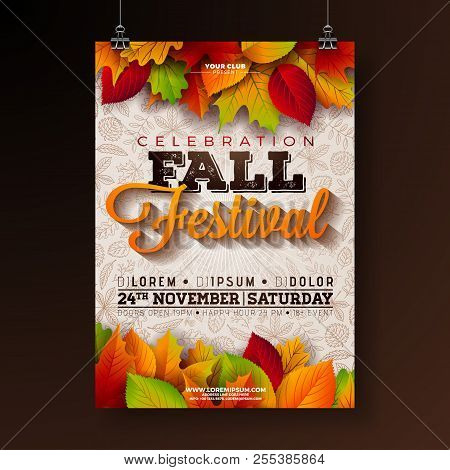 Autumn Party Flyer Illustration With Falling Leaves And Typography Design On Doodle Pattern Backgrou