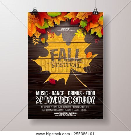 Autumn Party Flyer Illustration With Falling Leaves And Typography Design On Vintage Wood Background