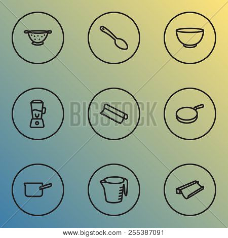 Kitchenware Icons Line Style Set With Spoon, Blender, Tin Foil And Other Skillet Elements. Isolated