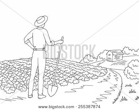 Farm Graphic Black White Landscape Sketch Illustration Vector. Farmer Looking At The Field