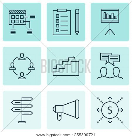 Management Icons Set With Cash Flow, Teamwork And Meeting, Statistics And Management Money Elements.