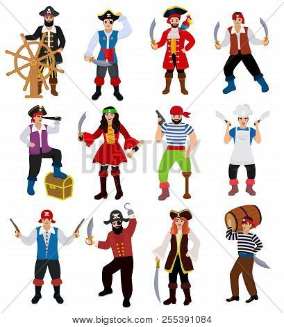 Pirate Vector Piratic Character Buccaneer Man In Pirating Costume In Hat With Sword Illustration Set