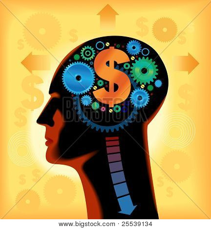 Heads, gears, dollar. Thinking about the business. Financial progress