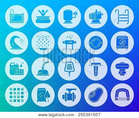 Swimming Pool Equipment Icons Set. Sign Kit Of Construction. Repair Pictogram Collection Includes Pu