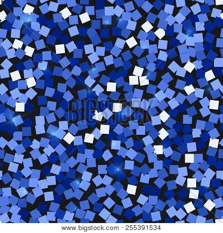 Glitter Seamless Texture. Admirable Blue Particles. Endless Pattern Made Of Sparkling Squares. Valua