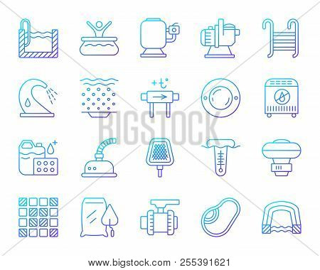 Swimming Pool Equipment Thin Line Icons Set. Outline Vector Sign Of Construction. Repair Linear Icon