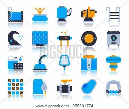 Swimming Pool Equipment Flat Icons Set. Vector Sign Kit Of Construction. Repair Pictograms Includes