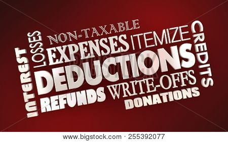 Deductions Tax Write-Offs Expenses Word Collage 3d Illustration