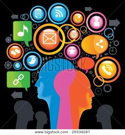 社会-媒体-SING.The 发展的全球通信。在移动通信和互联网