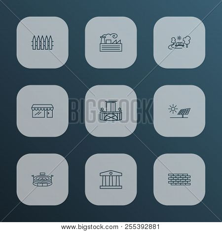 City Icons Line Style Set With Storefront, Brick Wall, Fabric And Other Terrace Elements. Isolated V
