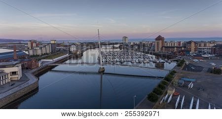 Editorial Swansea, Uk - July 25, 2018: An Aerial View Of The Millennium Bridge On The River Tawe, Sh