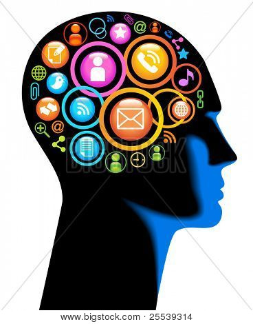 Media-Human-mobile.The development of global communications. Communication in mobile and internet networks