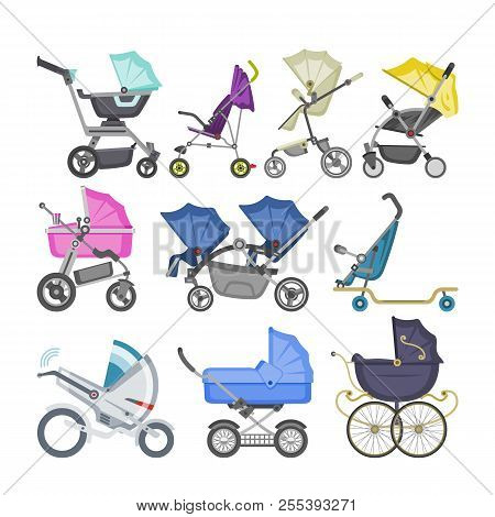 Stroller Vector Baby-stroller And Kids Buggy With Pram For Children Or Childish Carriage Illustratio