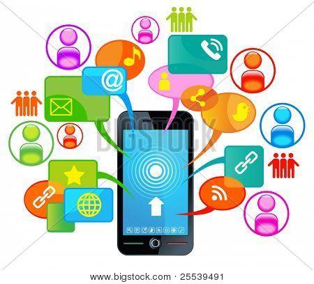 telefone de rede social. comunicação no networks.communication de computador global no global