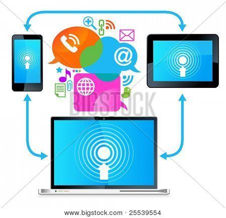 Laptop Handy Tablet Connection.communication in den globalen Computernetzwerken.
