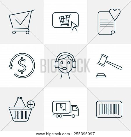 E-commerce Icons Line Style Set With Auction, Money Back, Barcode And Other Lorry Elements. Isolated