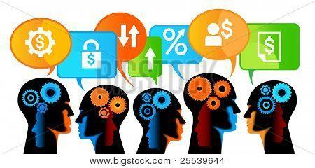 trabalho em equipe, trabalho em equipe de pessoas para um crescimento estável no negócio bancário
