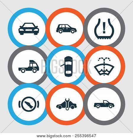 Automobile Icons Set With Crossover, Stop, Truck And Other Autocar Elements. Isolated Vector Illustr