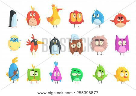 Little Cute Bird Chicks Collection Of Cartoon Characters In Geometric Shapes, Stylized Cute Baby Ani