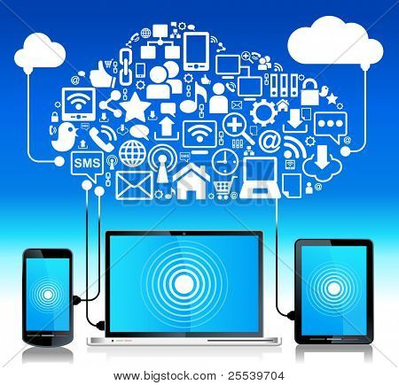 laptop telefone tablet Connection.communication em redes de computador global.