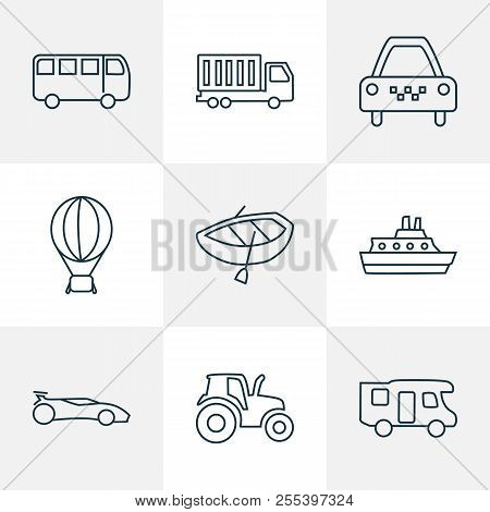 Vehicle Icons Line Style Set With Truck, Air Balloon, Campervan And Other Caravan Elements. Isolated