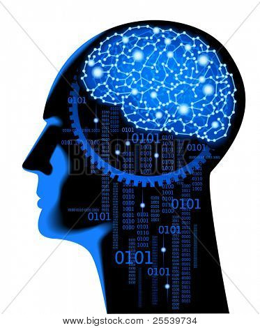the concept of human thinking.Abstract science background with brain