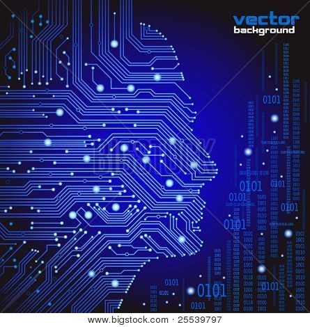 abstract blue vector background with high tech circuit board