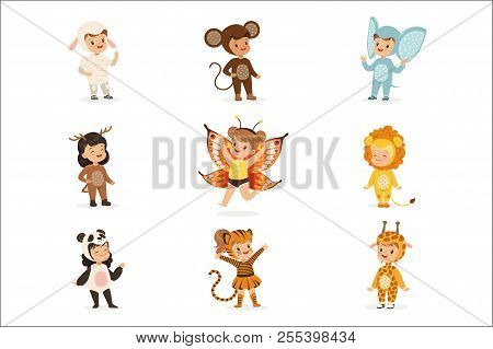 Kinds In Animal Costume Disguise Happy And Ready For Halloween Masquerade Party Collection Of Cute D