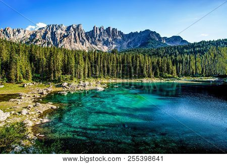 Karersee (lago Di Carezza), Is A Lake In The Dolomites In South Tyrol, Italy.in The Background The M