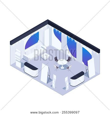Isometric Exhibition Pavilion With Advertising Posters, Flyer Folders. Blank Poster. 3d Furniture. V
