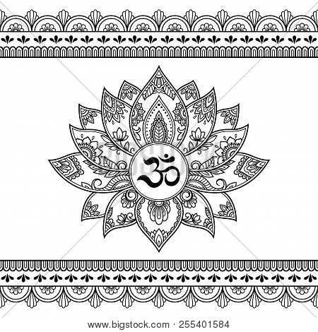 Mehndi lotus flower vector photo free trial bigstock mehndi lotus flower pattern with mantra om symbol and seamless border for henna drawing and tattoo mightylinksfo