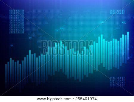 Stock Graph Market. Finance Chart. Growth Business Blue Vector Background. Bond Data Online Bank.