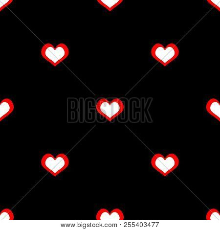 Tile Pattern With Red And White Hearts On Black Background For Seamless Decoration Wallpaper