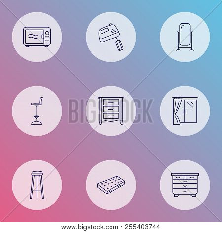 Furniture Icons Line Style Set With Mixer, Window, Dresser And Other Stand Vanity Elements. Isolated