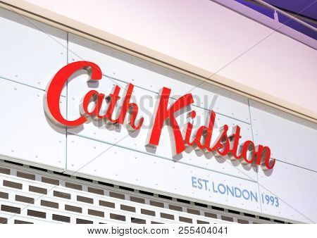 London, Uk - August 31, 2018: Cath Kidston Store Display Logo In Shopping Center. Close Up