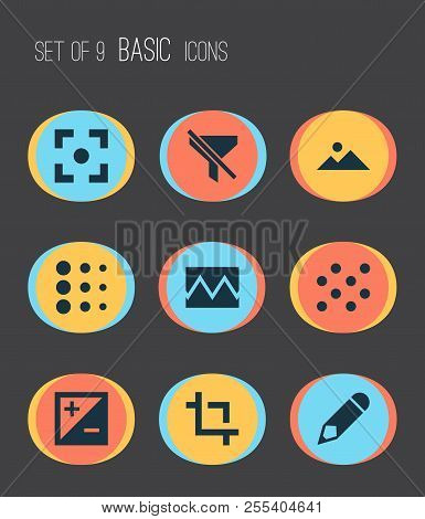 Image Icons Set With Blur, Broken Image, Exposure And Other Mountain Elements. Isolated  Illustratio