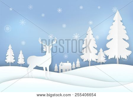 Deer In Countryside And Snowflake. Winter Holiday, Christmas Background Paper Art, Paper Cut, Paper