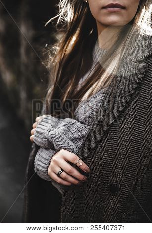 Streetstyle Portrait Of Young Woman Wearing Colorful Knitted Clothes On The Street. Outdoor, Street,