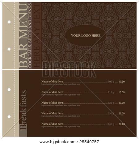 Vector. Vintage bar menu. Full design