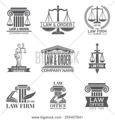 Law And Legal Labels. Legal Code, Judge Hammer And Other Corporate Symbols Of Jurisprudence. Black L