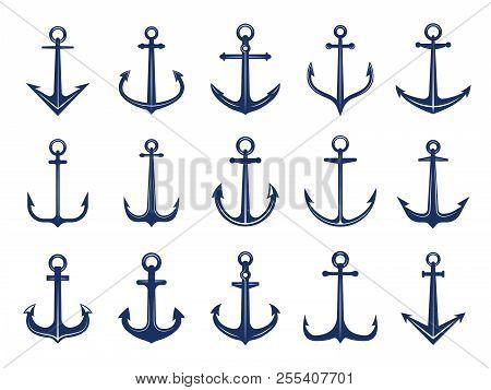 Marine Anchor Icons. Designs Of Navy Symbols Anchors Ship Or Boat. Vector Marine Retro Logotypes Tem