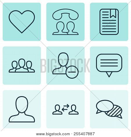 Network Icons Set With Unread Letter, Speaking People, Like Button And Other Speaking Elements. Isol