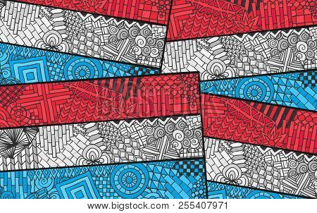 Luxembourg Flag. Grand Duchy National Symbol. Union Benelux. Country Souvenir Design. Zentangle Orna