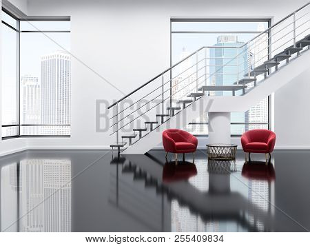 Loft Modern Office Waiting Area With White Walls, A Glass Black Floor, A Staircase And Two Soft Red