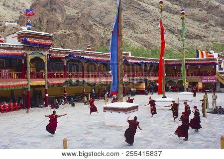 Jammu And Kashmir, India, July 2016, Monks Perform At Hemis Festival Inside Hemis Monastery