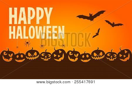 Cartoon Halloween Banners. Horizontal Halloween Banners With Happy Halloween Typography. Vector Illu